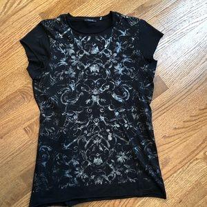 TAHARI Black silver burnout tee t shirt small
